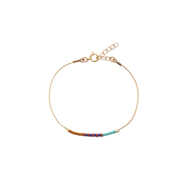 Septima Gold-Filled Pattern Anklet - Turquoise