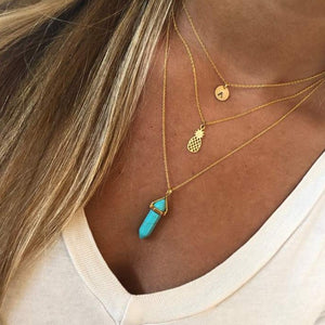 Turquoise Pointed Pendant Necklace
