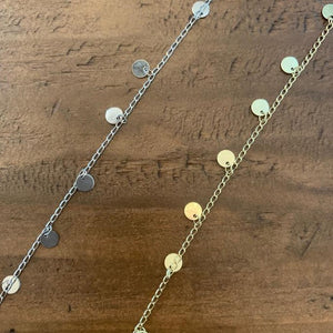 gold disc drop choker