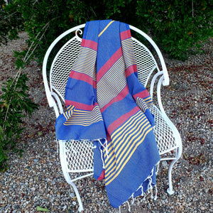 Turkish Beach Towel - Royal Blue/Yellow