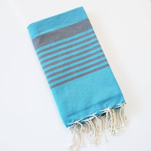 Turkish Beach Towel - Turquoise/Dark Grey