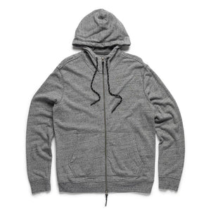 Surfside - Brushed Cotton Full Zip Hoodie - Speckled Grey