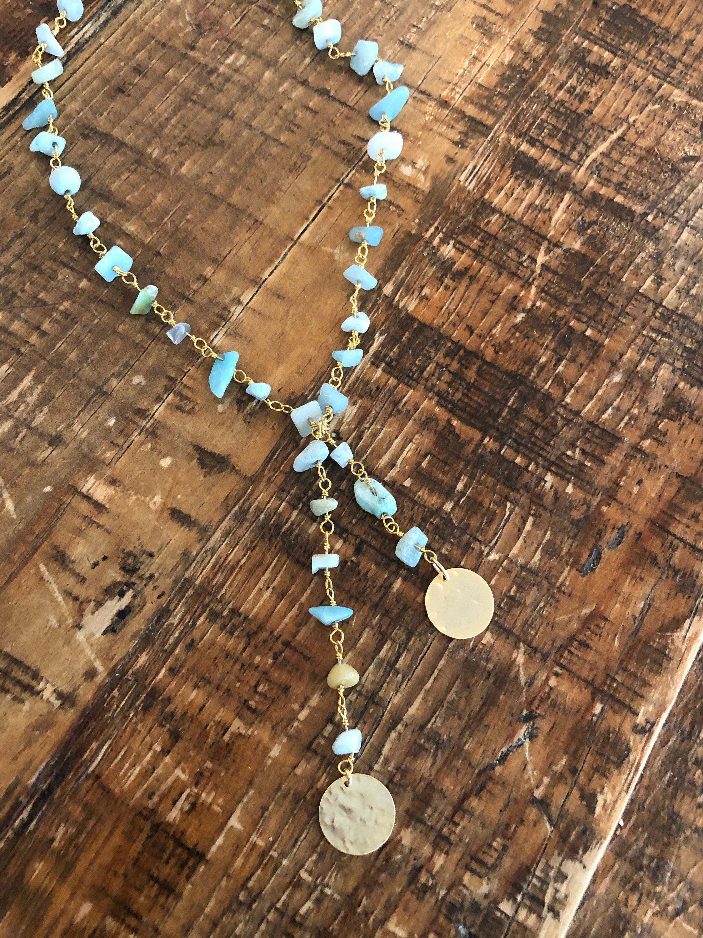 Turquoise Rosary Bead Necklace