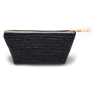 Travel Clutch - Indigo Chalk Stripe