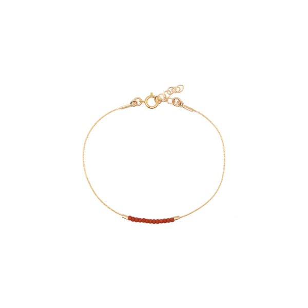 Septima Anklet - Terracotta and 14k Goldfill