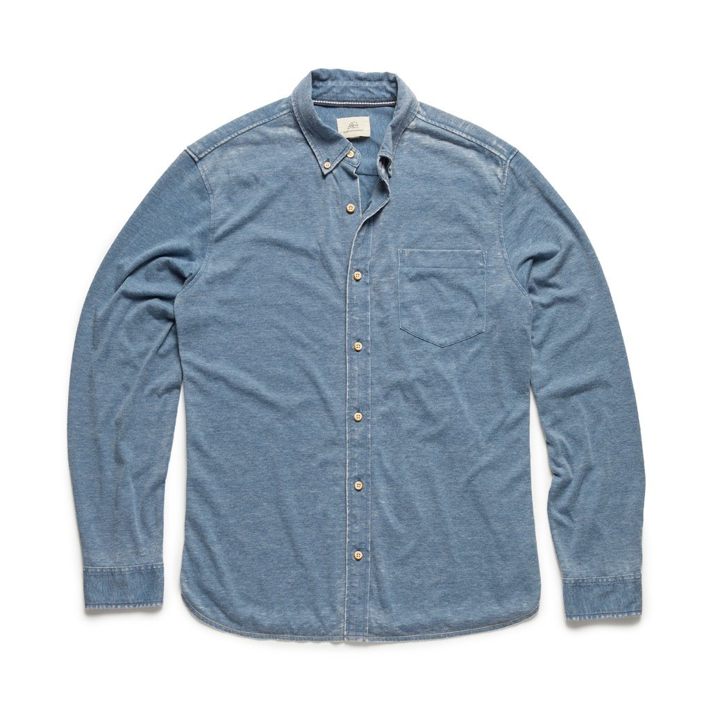 Surfside - L/S Washed Knit Shirt - Light Indigo