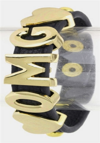 OMG  Faux Leather Snap Bracelet