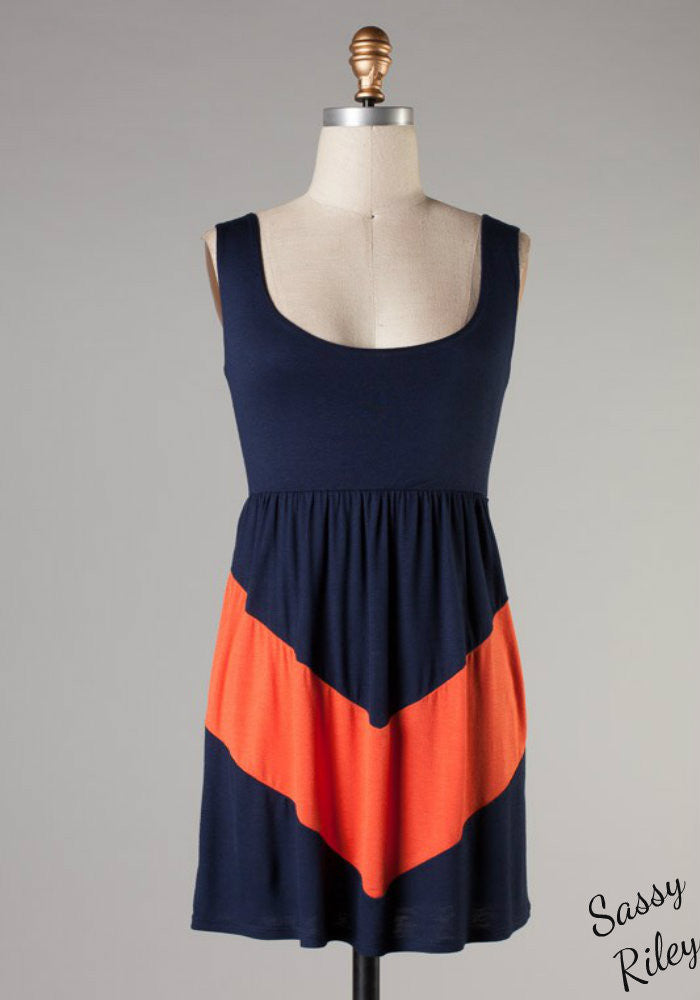 V is for Victory -- Navy/Orange
