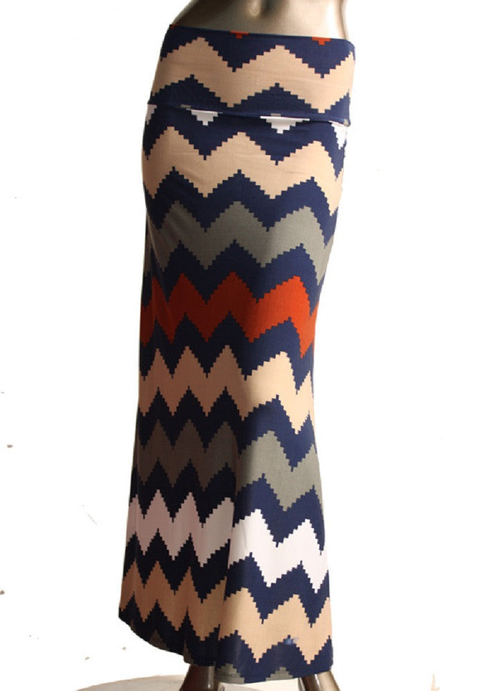 Colorful Chevron Maxi Skirt