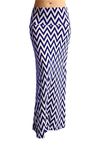 Chevron Maxi Skirt -- Royal Blue & White