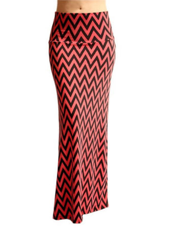 Chevron Maxi Skirt -- Red & Black