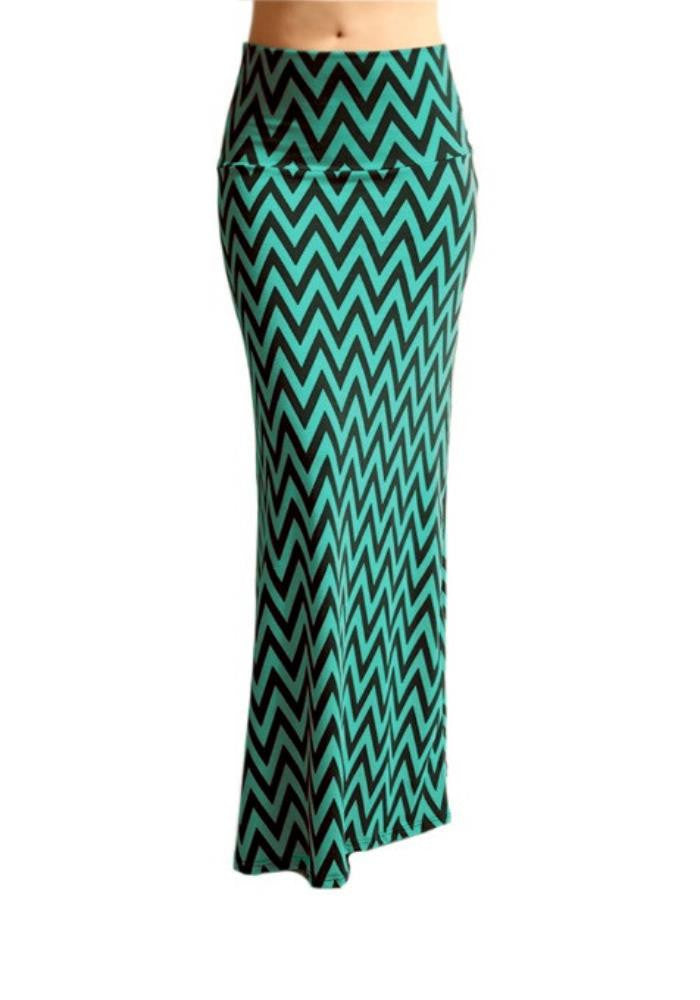 Chevron Maxi Skirt -- Teal & Black