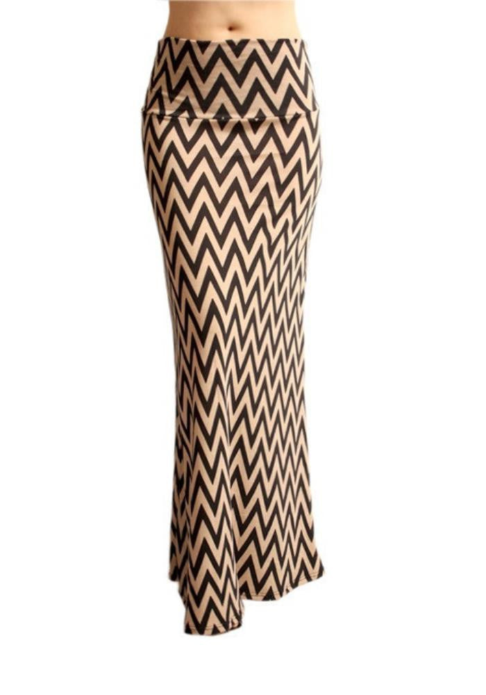 Chevron Maxi Skirt -- Tan & Black