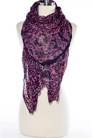 Animal Print Scarf --Pink/Purple