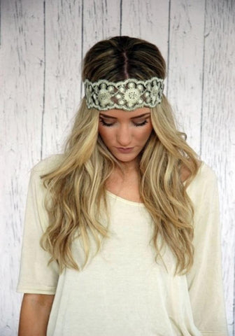 Embroidered Lace Gold and Black Stretchy Headband