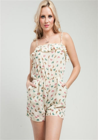 Butterfly Garden Romper -- Cream -- Sassy Deal