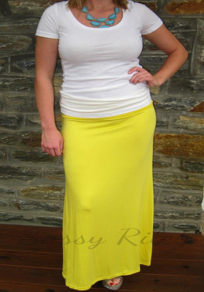 Solid Maxi Skirt -- Yellow