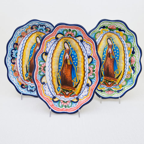 Virgin of Guadalupe Oval Scalloped Platter