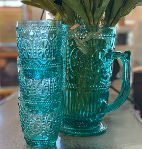 Glass Pitcher and Glasses