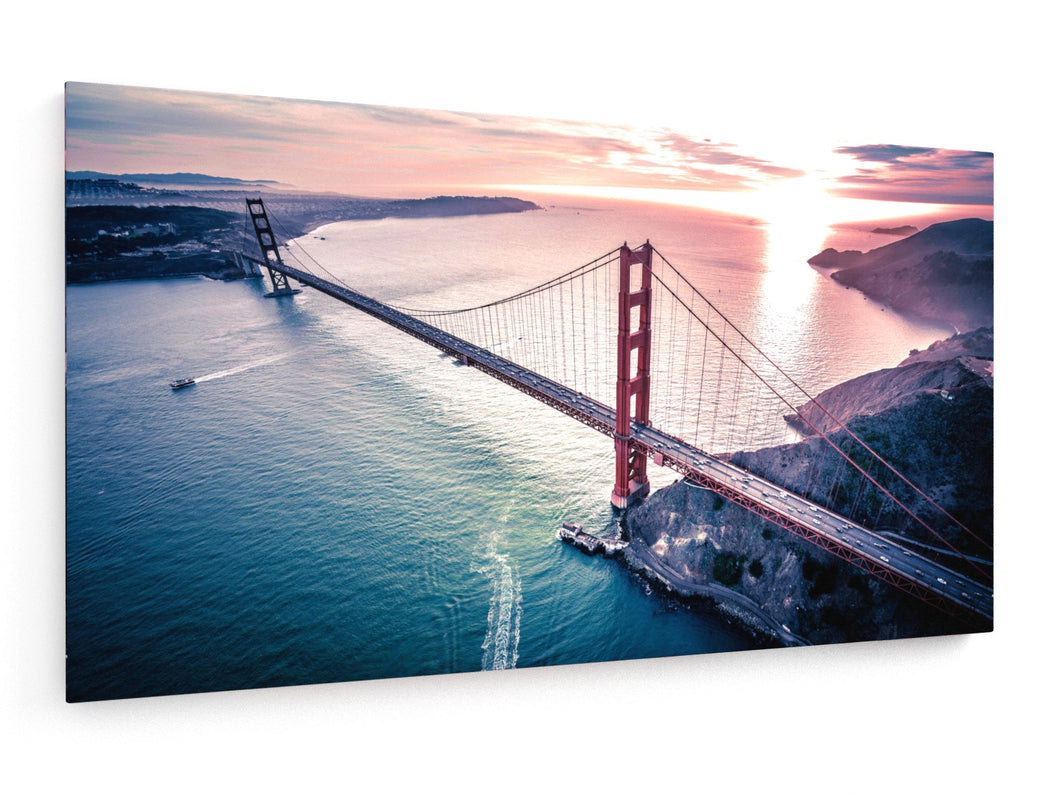Stretched Canvas - Textile - Golden Gate Bridge at Dusk Full Color