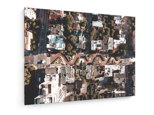Stretched Canvas - Textile - Aerial View of Lombard Street San Francisco