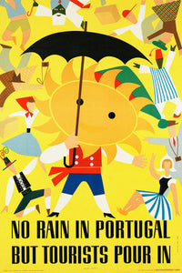 Poly Canvas Print - Vintage Travel Poster - No Rain in Portugal