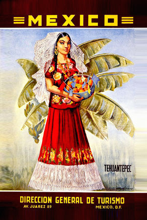 Poly Canvas Print - XXL - Vintage Travel Poster - Tehuantepec Mexico