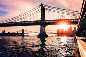 Poly Canvas Print - XXL - Photography: Manhattan and Brooklyn Bridges, New York
