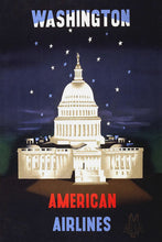 Load image into Gallery viewer, Poly Canvas Print - Vintage Travel Poster - American Airlines to Washington DC
