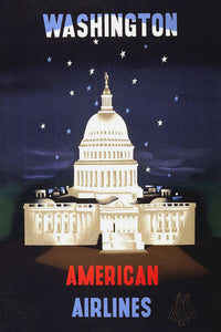 Poly Canvas Print - Vintage Travel Poster - American Airlines to Washington DC