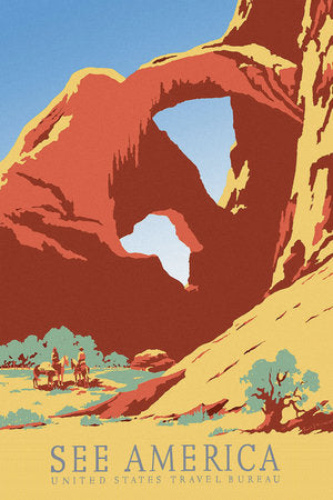 Poly Canvas Print - Float Frame - Vintage Travel Poster - See America Featuring the Corona Arch