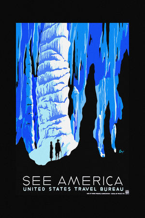 Poly Canvas Print - Float Frame - Vintage Travel Poster - See America - Caverns