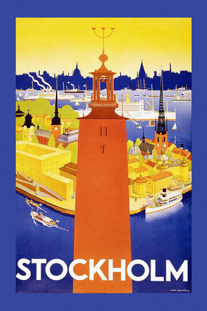 Poly Canvas Print - XXL - Vintage Travel Poster - Stockholm