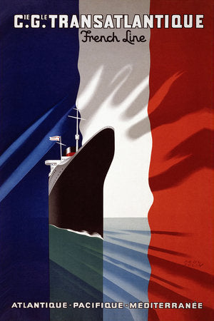 Poly Canvas Print - Vintage Travel Poster - Cie. Gle. Transatlantique. French line
