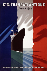 Poly Canvas Print - XXL - Vintage Travel Poster - Cie. Gle. Transatlantique. French line