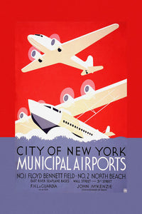 Poly Canvas Print - Float Frame - Vintage Travel Poster - New York Airports