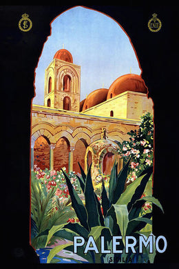 Poly Canvas Print - Float Frame - Vintage Travel Poster - Palermo