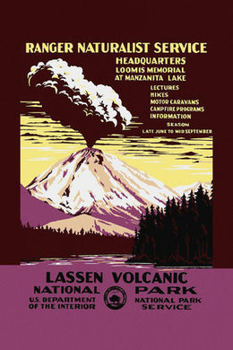 Poly Canvas Print - Float Frame - Vintage Travel Poster - Lassen Volcanic National Park, Ranger Naturalist Service