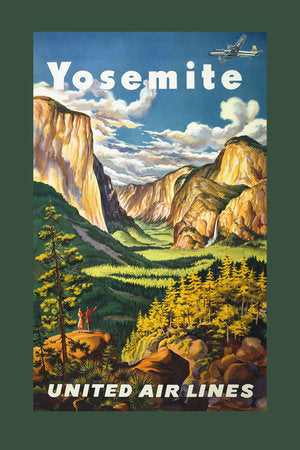 Poly Canvas Print - Vintage Travel Poster - Yosemite. United Air Lines