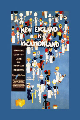 Poly Canvas Print - Float Frame - Vintage Travel Poster - New England is Vacationland