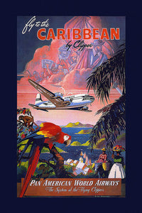 Poly Canvas Print - Float Frame - Vintage Travel Poster - Fly to the Caribbean
