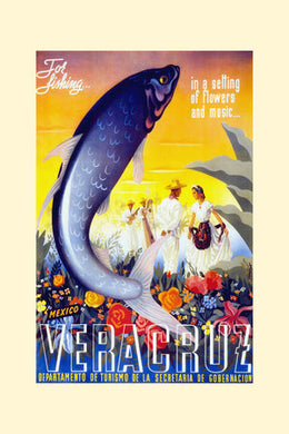 Poly Canvas Print - Float Frame - Vintage Travel Poster - Veracruz - for fishing in a setting flowers and music