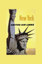 Load image into Gallery viewer, Poly Canvas Print - Vintage Travel Poster - New York, United Airlines