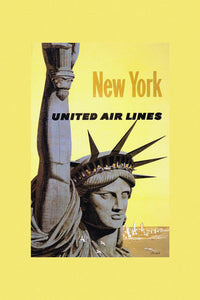 Poly Canvas Print - Vintage Travel Poster - New York, United Airlines