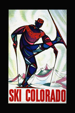 Poly Canvas Print - Float Frame - Vintage Travel Poster - Ski Colorado