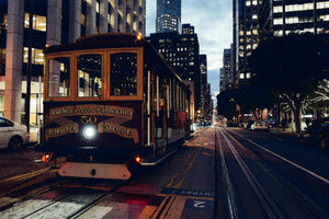 Poly Canvas Print - Vaness and Market Street Cable Car, San Francisco, California