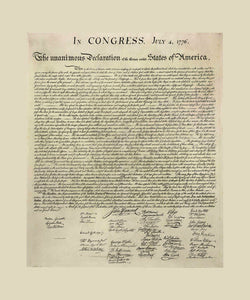 Poly Canvas Print - Float Frame - Declaration of Independence