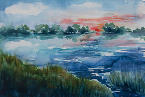 Poly Canvas Print - Float Frame - Abstract - Watercolor Painting of a Pond, Trees, and Shore