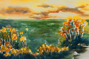 Poly Canvas Print - Float Frame - Abstract - Watercolor Landscape with Gold and Orange Flowers and Meadow