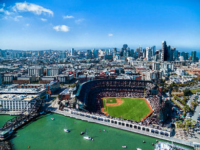 Poly Canvas Print - Photography - Drone Aerial View of Oracle Park, San Francisco, California